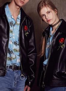 써틴먼스 17ss fake leather zip-up jacket