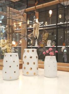 &K set of 3 dotted vases