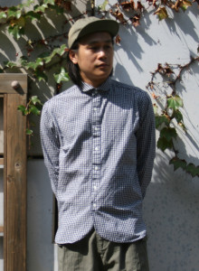 라운딩넥 고방 체크 셔츠 (깅엄)