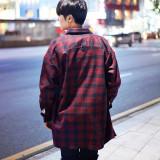 빌리지 남자 오버핏 체크 셔츠 남방 자켓 2color