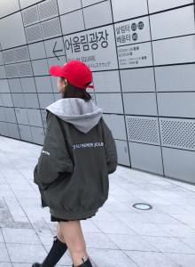 남녀공용 오버핏 셔링후드 항공점퍼 4color