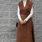 핸드메이드 롱 조끼 코트 (4color)