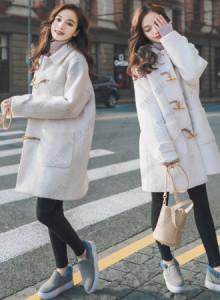 [해외] 여성 떡볶이 코트 2017 흰 두꺼운 뿔 버클 모직 가
