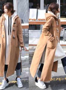[해외] 여성 떡볶이 코트 2017 가을과 겨울 신상품 학생 뿔 버클