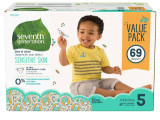 미국기저귀 세븐스 제너레이션 아기 기저귀 사이즈 5 (69ea) 몸무게 12Kg이상