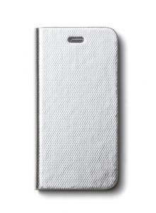 제누스 아이폰8 메탈릭 가죽케이스 실버