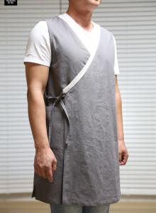 남성형 깃배색 조끼형앞치마 (가을린넨) 한복앞치마 남자앞치마