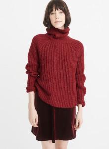 아베크롬비 여자 터틀넥 스웨터 레드 SHAKER TURTLENECK SWEATER RED