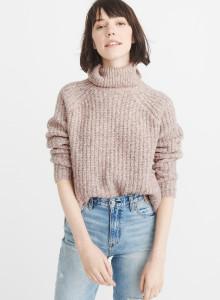 아베크롬비 여자 터틀넥 스웨터 핑크 SHAKER TURTLENECK SWEATER PINK