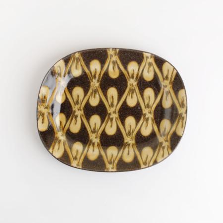 [Takehiro Ito] 이토 타케히로 슬립웨어 22.5cm 타원형 얕은 그릇(Shallow)