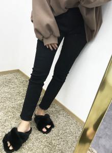 여자 일자 스판 기모 블랙진 청바지 팬츠 6403