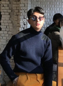 [Aspesi blu] 패치 하프넥 스웨터 (2color)