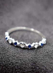 반짝이는 하트 - 얇은 반지 (925 silver, 화이트&블루)