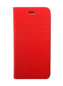 제누스 아이폰8 큐브 가죽케이스 레드