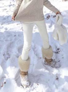 겨울 화이트 기모 스판 스키니 팬츠