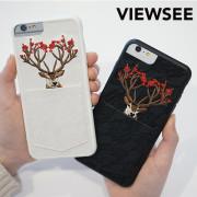 아이폰6/6s플러스 자수 케이스 꽃사슴 카드 커플