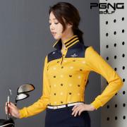 크라운 포인트 배색 여성 골프 티셔츠
