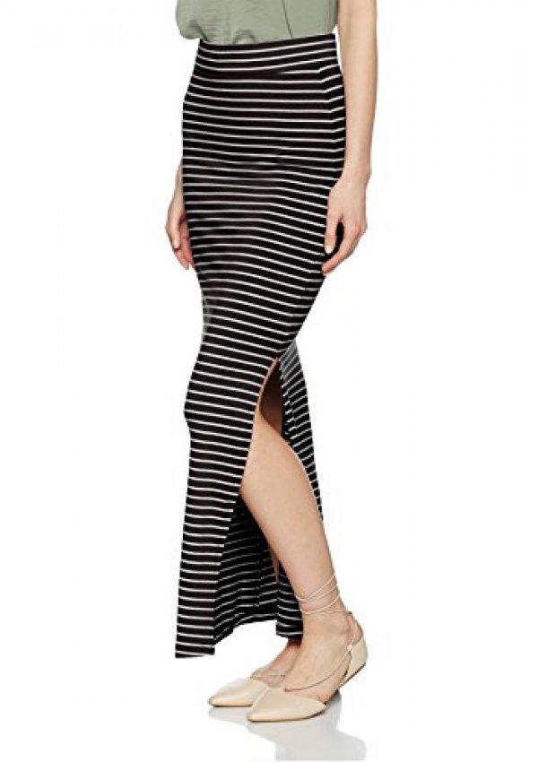 유럽독일 스커트 VILA CLOTHES Damen Rock Vihonesty New Maxi Slit Skirt-Noos, Schwarz (Black Stripes:Snow Wh : 할로독일. - 네이버쇼핑