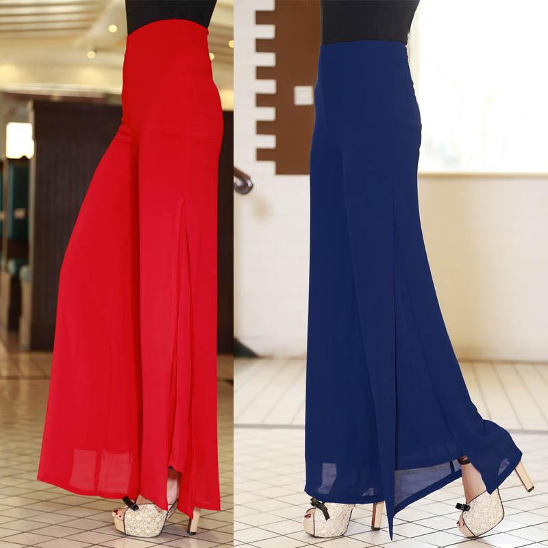 트럼펫 스커트 여름 모델 한국어 높은 허리 쉬폰 바지 : Celinda - 네이버쇼핑