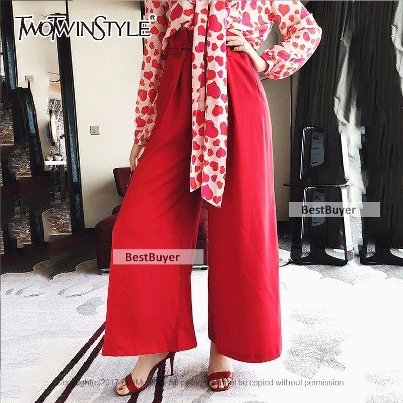 여성바지/ TWOTWINSTYLE Lace Up Wide Leg Pants 암 (High) 저 (허리 프릴 Summer 긴 Trousers Fashion Womens 2018 O : 베스트 바이어 - 네이버쇼핑