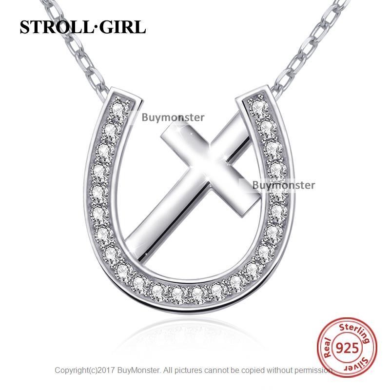 펜던트목걸이/ Strollgirl 호스 슈 & cross necklace 와 흰 CZ jewelry accessories 925 sterling silver necklace je : 바이몬스터 - 네이버쇼핑