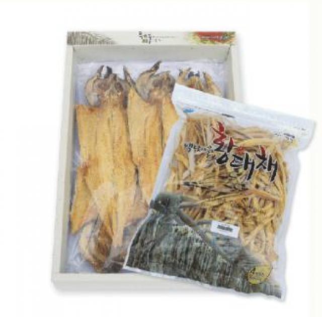 용대리 백담마을 종합선물세트 [황태포5미(특대,42~44cm)+황태채400g]