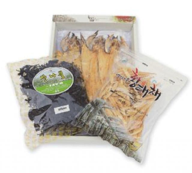 용대리 백담마을 종합선물세트 [황태포5미] [(특대,42~44cm)+황태채200g+곤드레150g]