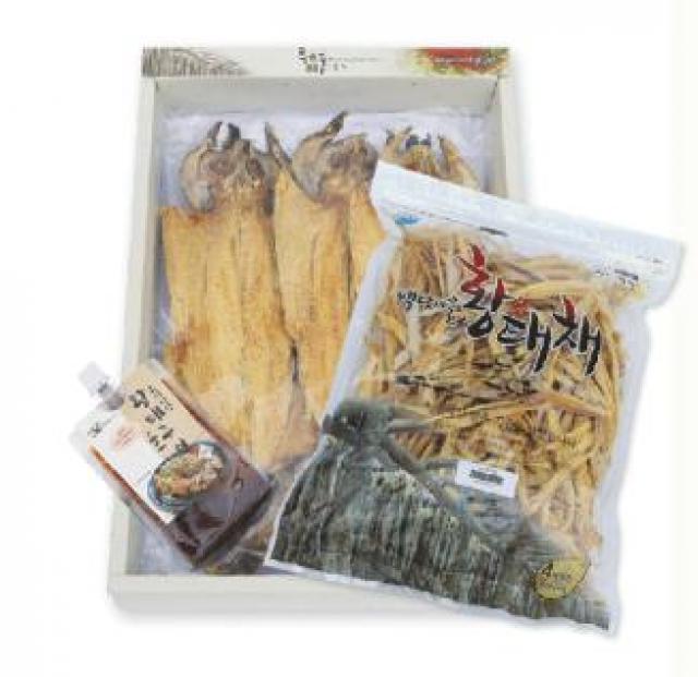 용대리 백담마을 종합선물세트 [황태포5미(특대,42~44cm)+황태채200g+황태소스2개]