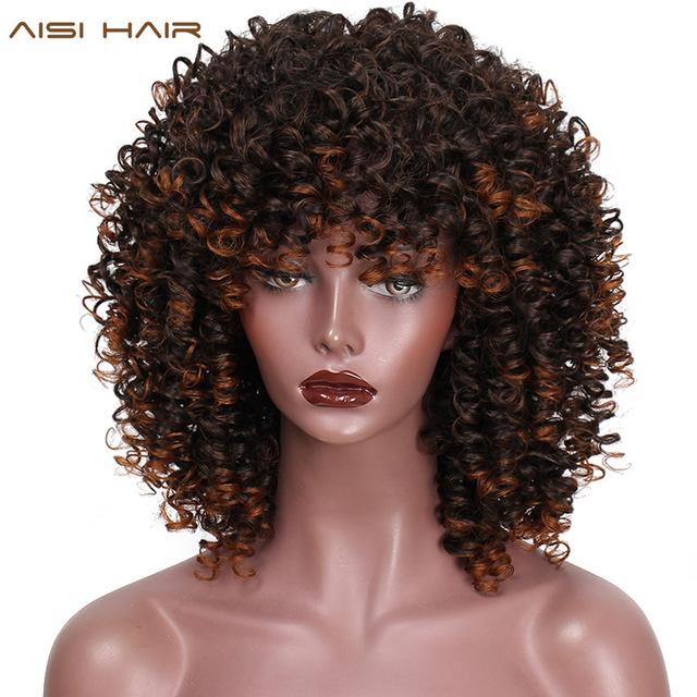 AISI HAIR Afro 변 태 곱슬 Wig Mixed Brown 및 옴 브레의 금발 합성 Wig Natural Black Hair 대 한 Women 열 저항하는 머리카락 : jiajing - 네이버쇼핑