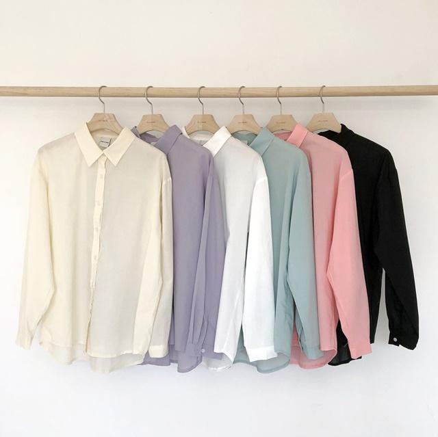 여름 루즈핏 아사면 파스텔 긴팔 셔츠 남방 민트 핑크 : 아베크조이