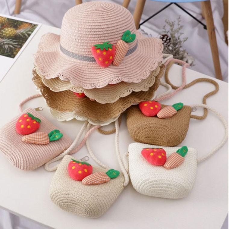 딸기 와펜 아동용 왕골 모자가방 세트/밀짚모자/왕골 : 위티플러스