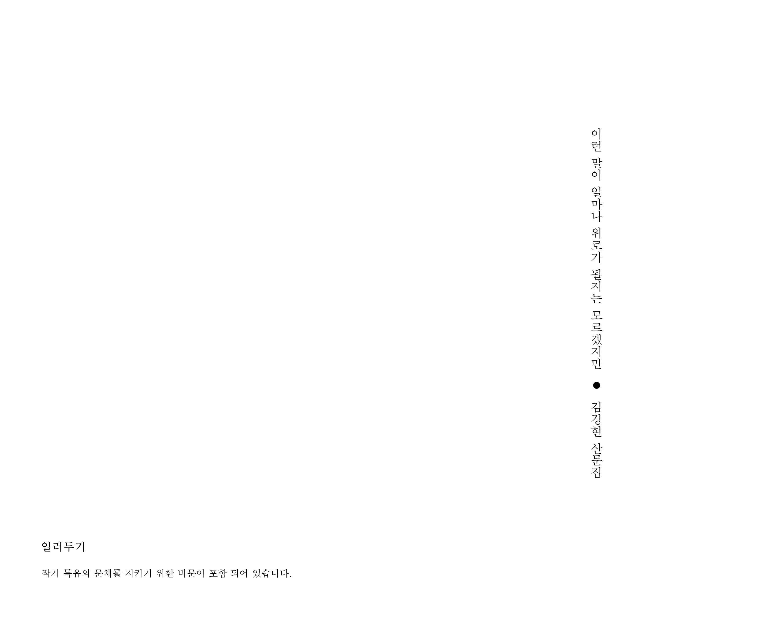 이런 말이 얼마나 위로가 될지는 모르겠지만 / 김경현 산문집 / 별빛들 / 다시서점 : 다시서점