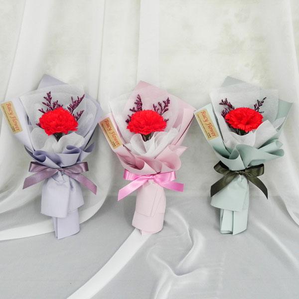 카네이션 비누꽃 한송이 다발 G : 루시Shop