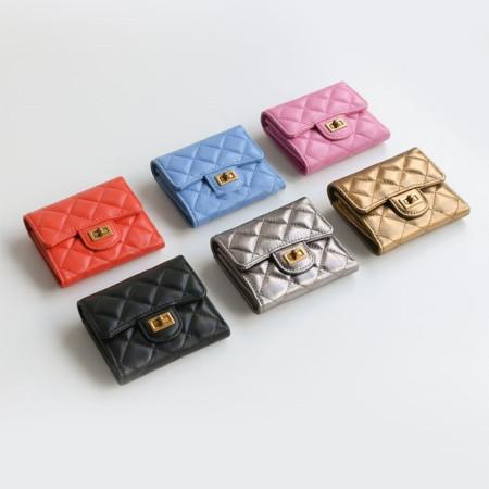 시크스튜디오 20대 30대 여성 학생 명품 램스킨 다이아몬드 금장 클래식 블랙 반지갑