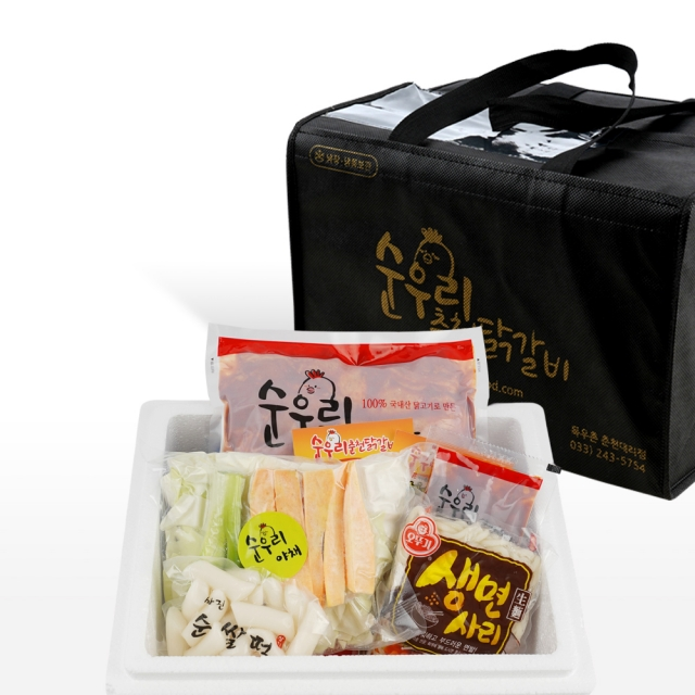 (강원) 순우리 춘천 양념 닭갈비 한가족 밀키트 세트(1kg,3인분,야채포함)