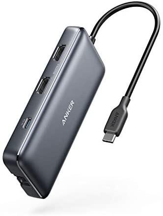 [해외]Anker USB C Hub, PowerExpand 8-in-1 USB C 어댑터, with Dual 4K HDMI, 100W Power Delivery, 1 Gbps Et